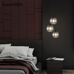 Image 4 - מודרני עשן אפור זכוכית תליון אורות סלון נורדי Led Hanglamp לופט תעשייתי תליית מנורת בית תפאורה Luminaire E27