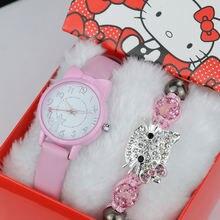 Комплект женских часов и браслетов мягкий кожаный ремешок с