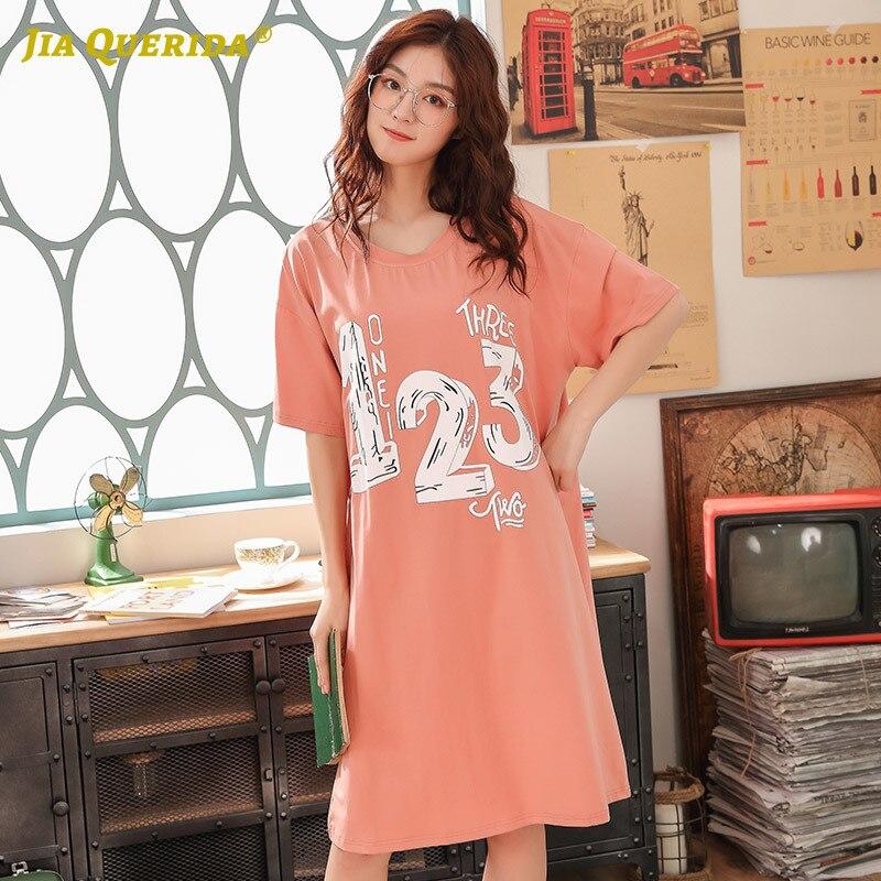 Summer New Ladies Nighgowns   Sleepshirt   Short Sleeves Letter Printing Orange Round Neck Nightie Long Shirt Nightwear Home Clothes