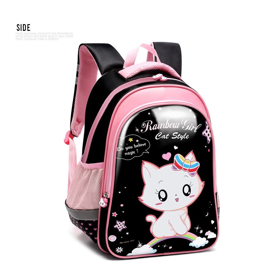 Children Backpack School Bags Set Princess Cat Satchel Pencil Bag Orthopedic Pink Cat Kid Backpack Girls Grade 1-3-6 Escolares