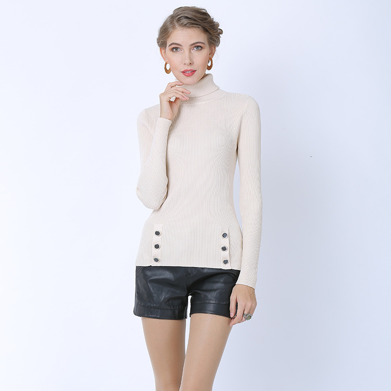 New Autumn Winter Women Knitted Pullover Turtleneck Ladies Slim Bottoming Sweater Button Full Sleeve Casual Jumpers Jersey Mujer