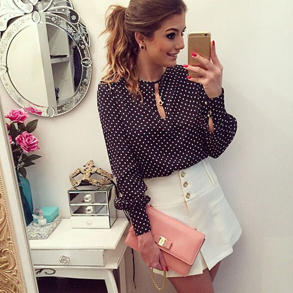 2020 New Arrival Women Tops Casual O-Neck Long Sleeves Blouses Spring Summer Chiffon Polka Dots Shirt