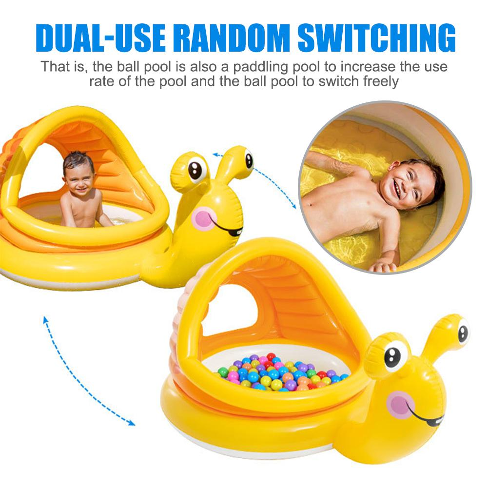 Snail Shaped Baby Swimming Pool Float Cartoon Inflatable Snail Swimming Ring Round Sunshade Pool Baby Bathtub