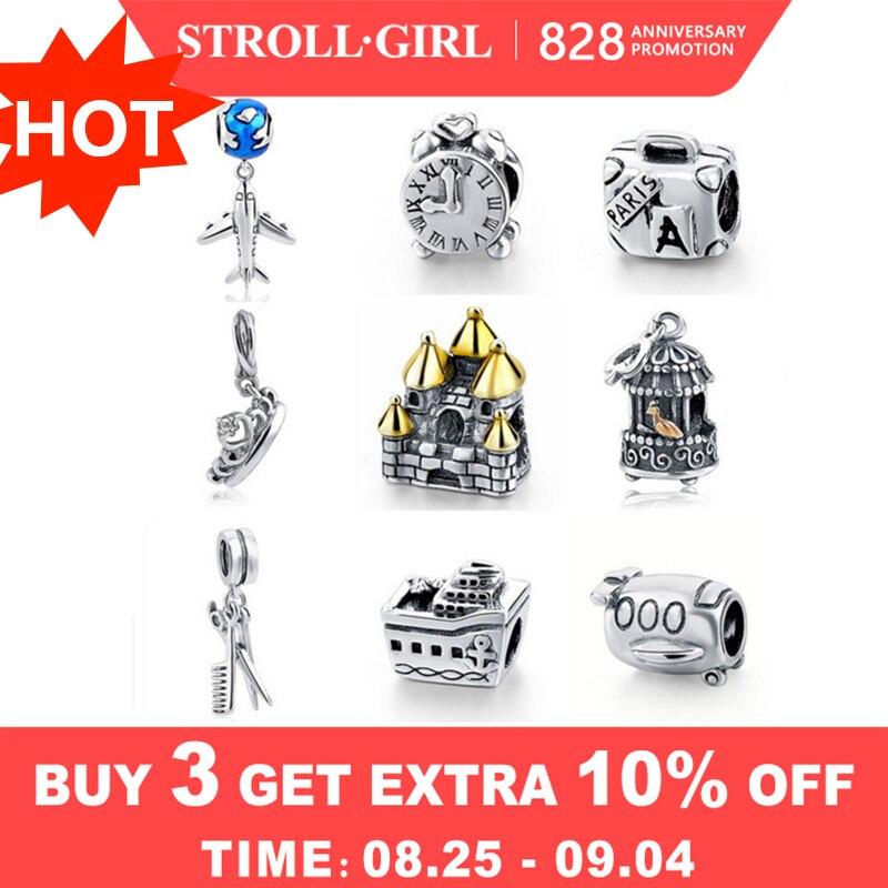 Charms Pendant Plane-Clock Floating Crown Pandora Bracelet 925-Sterling-Silver Original