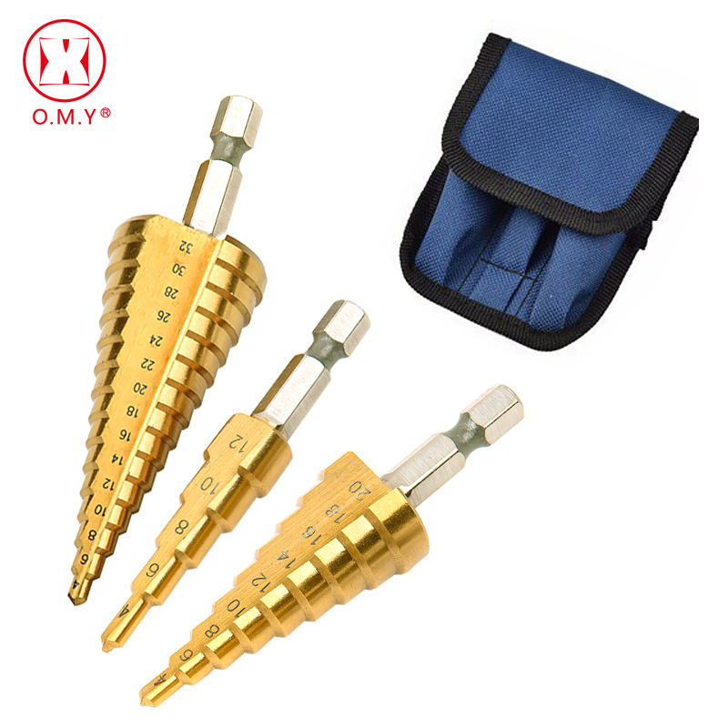 3pc Hss Titanium Coated Drill Bits Step Drill Bits Cone Metal Hole Cutter 4-12/20/32mm Hex Tapered Metal Drill Bits Power Tools