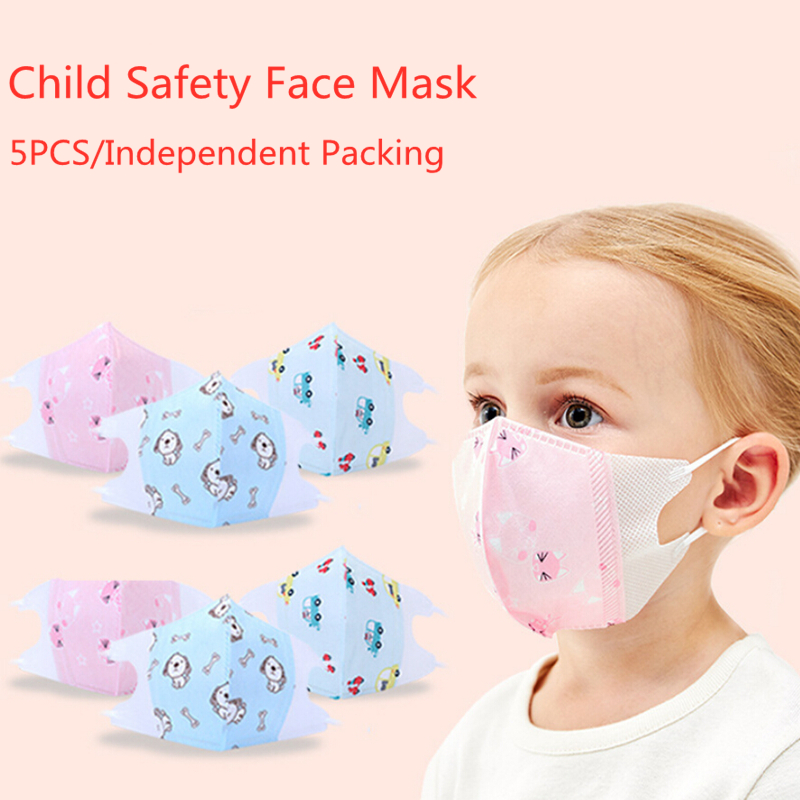 5PCS Child Kids Face Mask With Filter Respirator Protective Face Masks Mouth Breathable Cartoon Print Face Covers With Valve