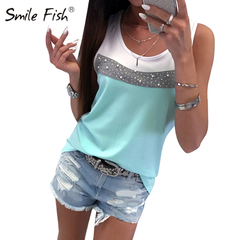 Patchwork Summer Tank Sleeveless Women T-Shirts Fashion Casual Tops Femme O-Neck Tshirt Beading Diamonds Sarafan Plus Size GV232