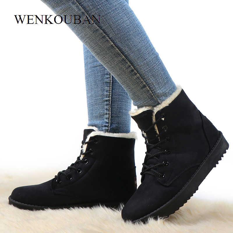 Kışlık botlar kadın kar yarım çizmeler kadın sıcak Lace Up kauçuk ayakkabı süet Platform çizmeler peluş astarı Botas Mujer Invierno 2019