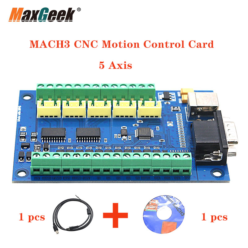 Maxgeek Upgrade MACH3 CNC Control Card 5 Axis CNC Breakout Board 100KHz USB Cable For CNC Engraving 12-24V