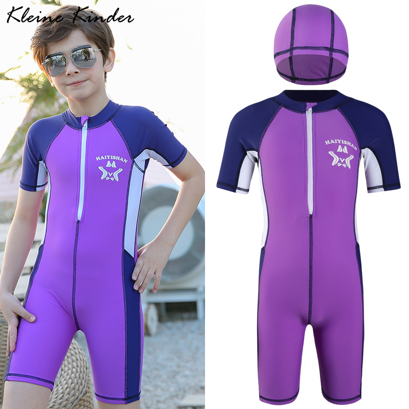 Children's Swimwear 2020 Summer New Sunscreen Short Sleeve One Piece Swimsuit With Cap Professional Sport Swimming Suit For Boys