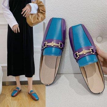 Nowe damskie odkryte damskie buty na niskim obcasie płaskie Muller pantofle damskie modne pantofle 2021 modne skórzane buty Zapatillas Mujer tanie i dobre opinie OIMG CN (pochodzenie) RUBBER Mieszkanie (≤1cm) Pasuje prawda na wymiar weź swój normalny rozmiar Podstawowe Szycia