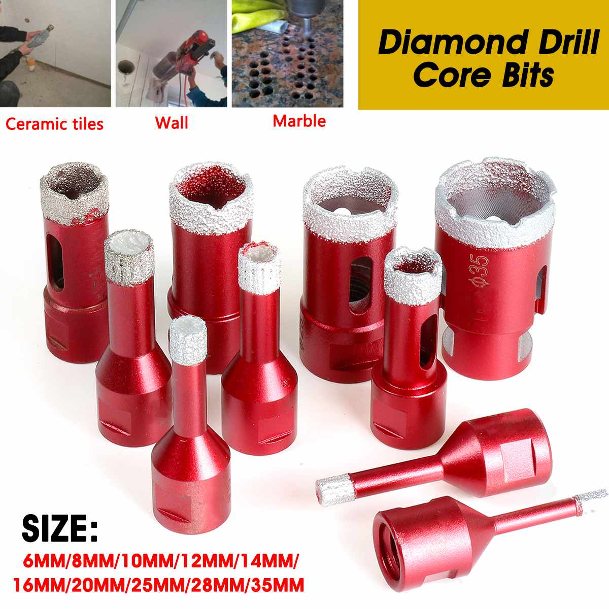 Doersupp 6/8/10/12/14/16/20/25/28/35mm M14 Diamond Opener Drill Core Bits Drilling Hole Saw Tools For Tile Marble Granite Stone