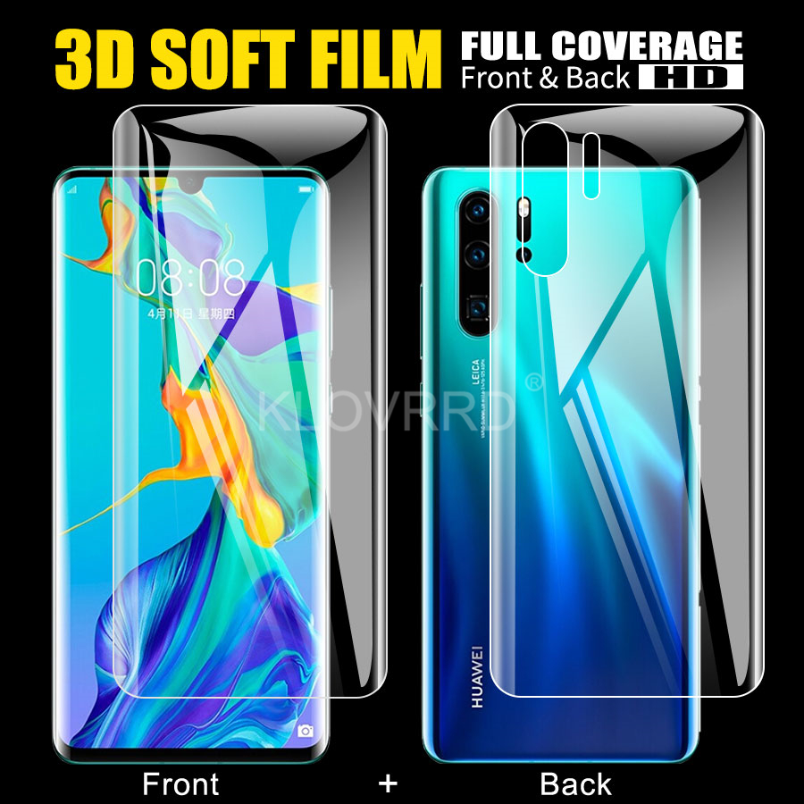 Front + Back Film For Huawei P20 Lite Honor 20 9X P30 Pro P10 Lite Plus Screen Full Cover Protector Silicone Hydrogel Sticker