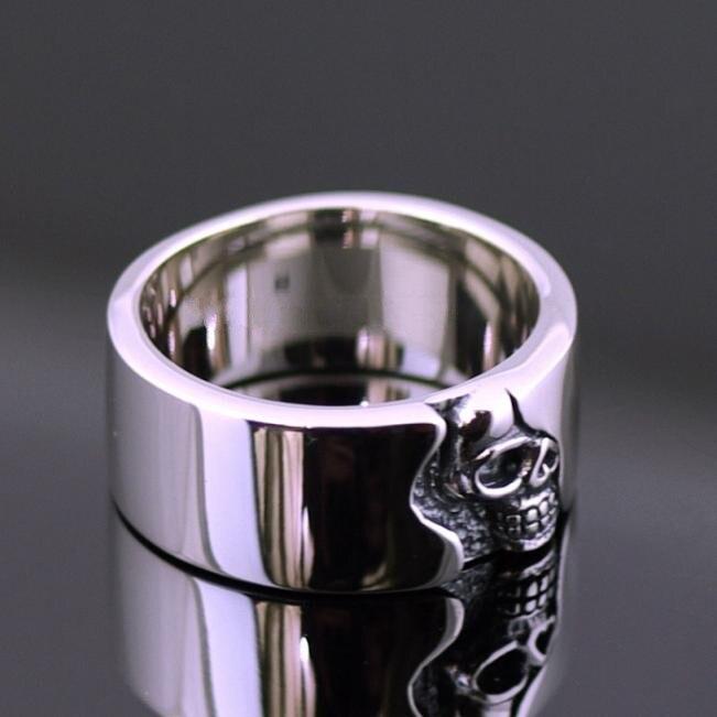 Breve placa esqueleto anillo calavera hombres thai anillo de plata - 3
