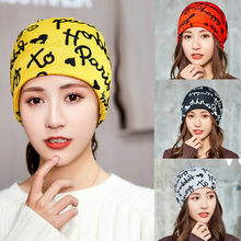 Letter printing Ladies' Autumn Winter Warm solid Collar Caps Women outdoor windproof beanies Cap female earmuffs casual bonnet(China)
