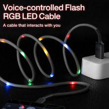 GENAI Micro USB Cable Voice Control Flash RGB LED Light Cable Charging Cord For Android Mobile Phones Quick Charge Data Cables
