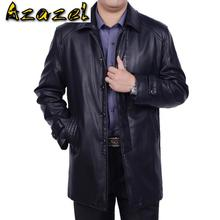 Hot Men's Winter New plus Size Genuine leather jacket Men long Business casual jackets male leather clothes trench Coat S-4XL