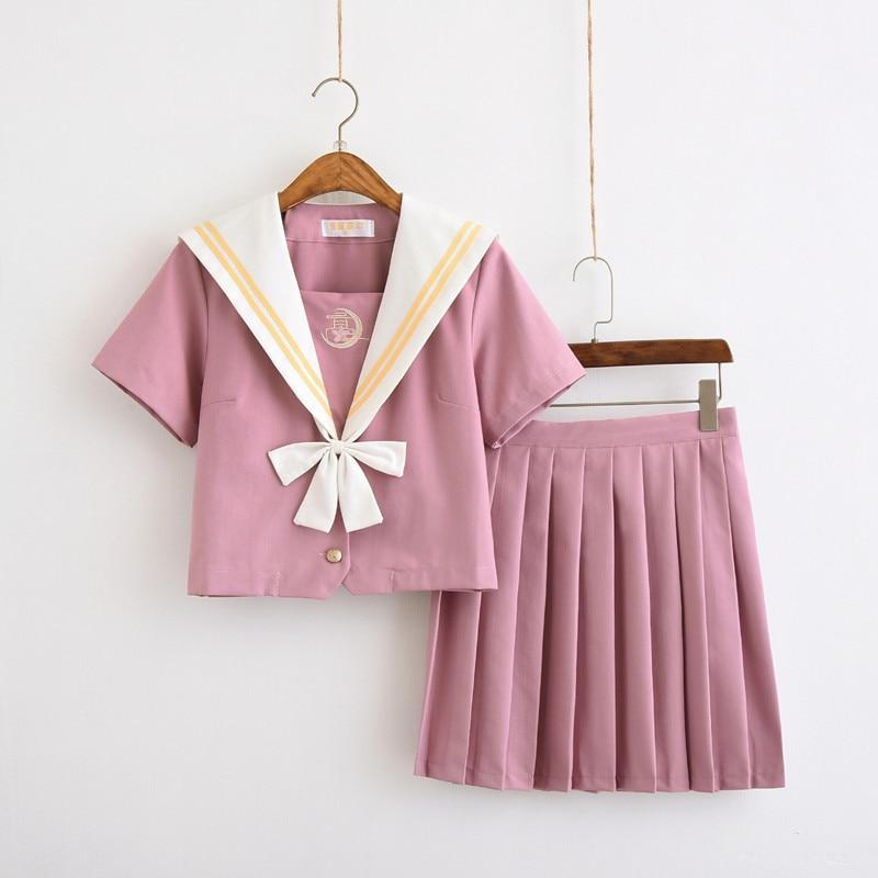 Lori Pink Sailor Uniform Japanese School Girl JK Uniforms Short Long Sleeved Shirt Skirt Suits Student Chorus Clothing