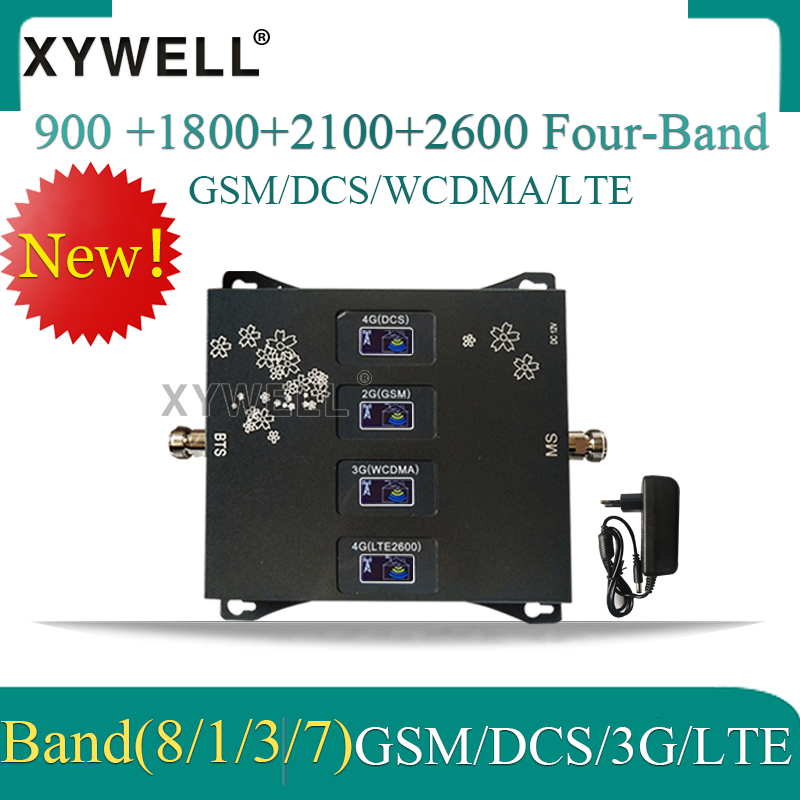 1PCS 900/1800/2100/2600mhz Four-Band 4G Cellular Amplifier 2G 3G 4G Mobile Signal Booster GSM DCS WCDMA LTE Cellular Repeater