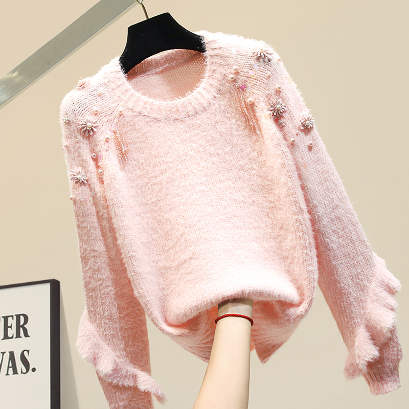 Bead Ruffle Sweater Women Flower Sleeve Sweater Women's New Knitted Top Thickened Loose Outwear Ins Female Soft Sweaters Blue