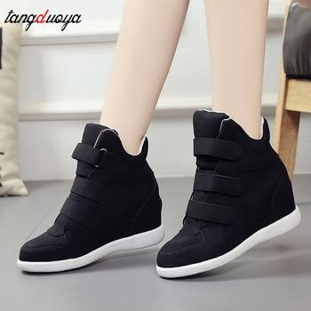 Zapatos de plataforma a la moda, botines para mujer, cuñas ocultas, zapatillas de deporte cómodas, zapatos casuales aterciopelados para mujer, zapatillas para mujer 2019