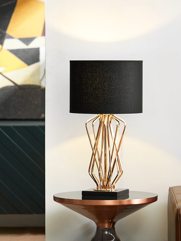 Modern Gold Cross Metal Lines Table Lamp Abajurs Living Room Home Decor Lamps Table Black Marble