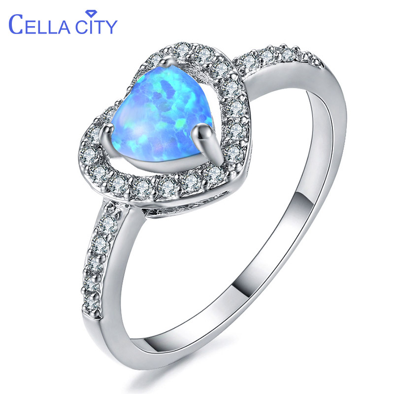 Cellacity Female Fine Jewelry Silver 925 Rings For Women Heart Shaped Gemstones Blue White Opal Zircon Size5-10 Sweet Dating Gif