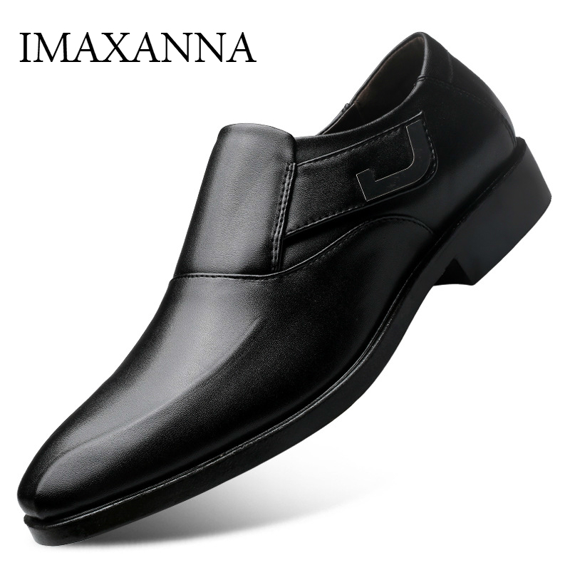 IMAXANNA Leather Shoes Men Dress Shoes