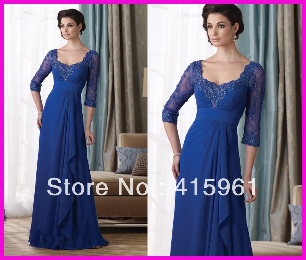 2019 Farsali Free Shipping Royal Blue Beaded Custom Lace Vestidos De Novia Long Sleeve Mother Of The Bride Dresses Evening Gowns