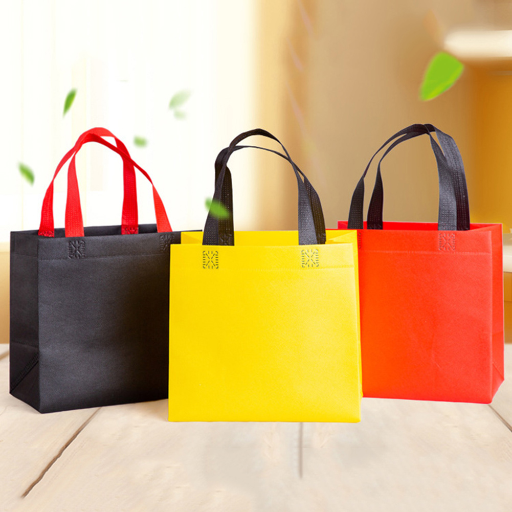 Solid Color Casual Foldable Shopping Bag Reusable Eco Bag Fabric Non-woven Shoulder Fabric Bags Grocery Bags Pouch Lunch Bag Hot