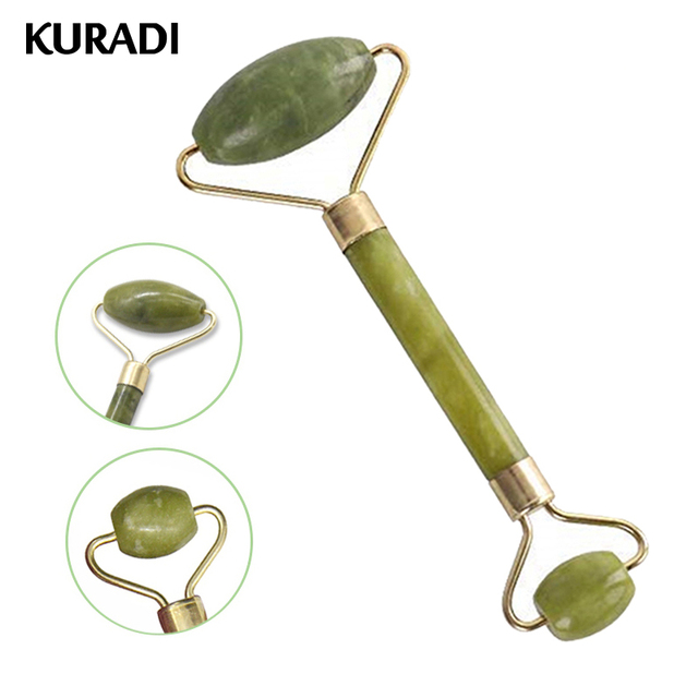 KURADI Double Head Green Facial Massager Roller Natural Jade Stone GuaSha Face Slimming Body Head Neck Natural Massage Tool 2019