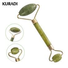 Kuradi dupla cabeça verde massageador facial rolo natural jade pedra guasha rosto emagrecimento corpo cabeça pescoço massagem natural ferramenta 2019