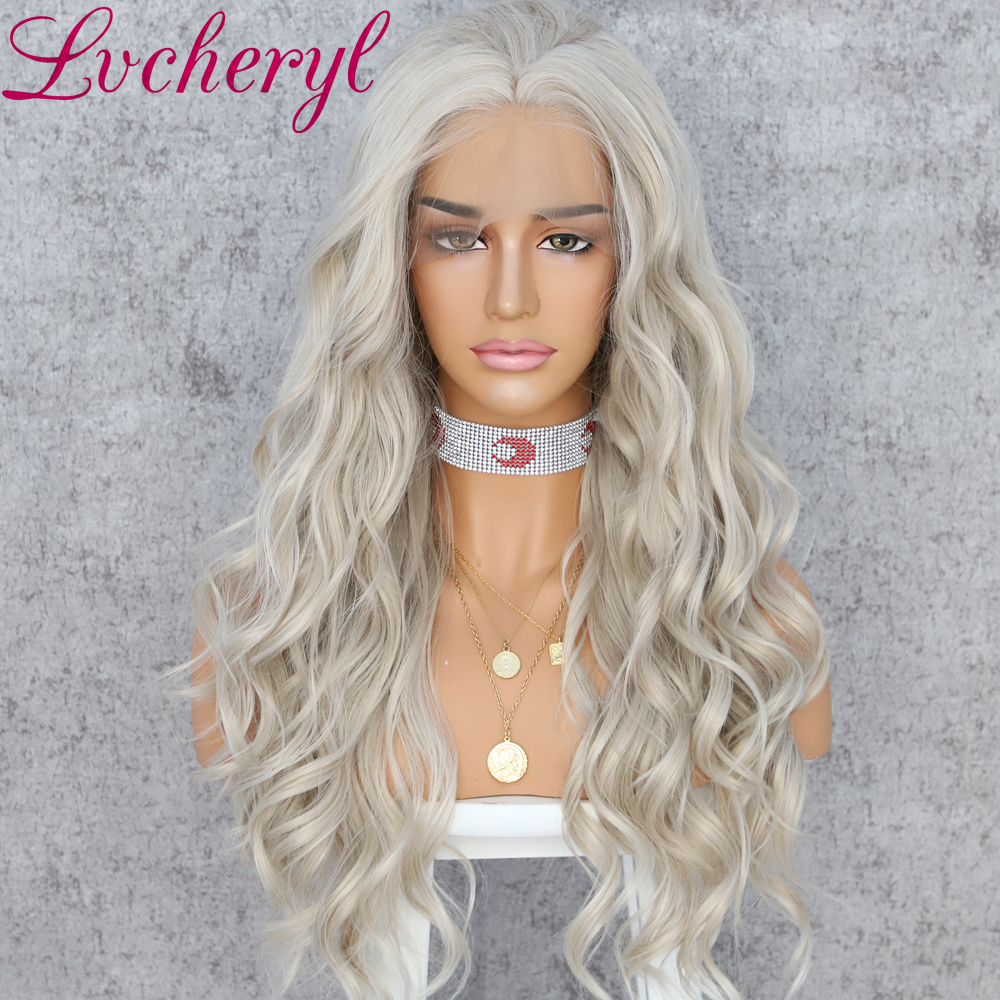 Lvcheryl Long Wavy Platinum Blonde Color Synthetic Lace Front Wigs Hand Tied Natural Hair Heat Resistant Hair Wigs For Women