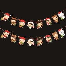 Нить рождественской гирлянды из бумаги, Висячие флаги, новогодние вечерние украшения, 2 шт., Новые поступления,, Прямая поставка