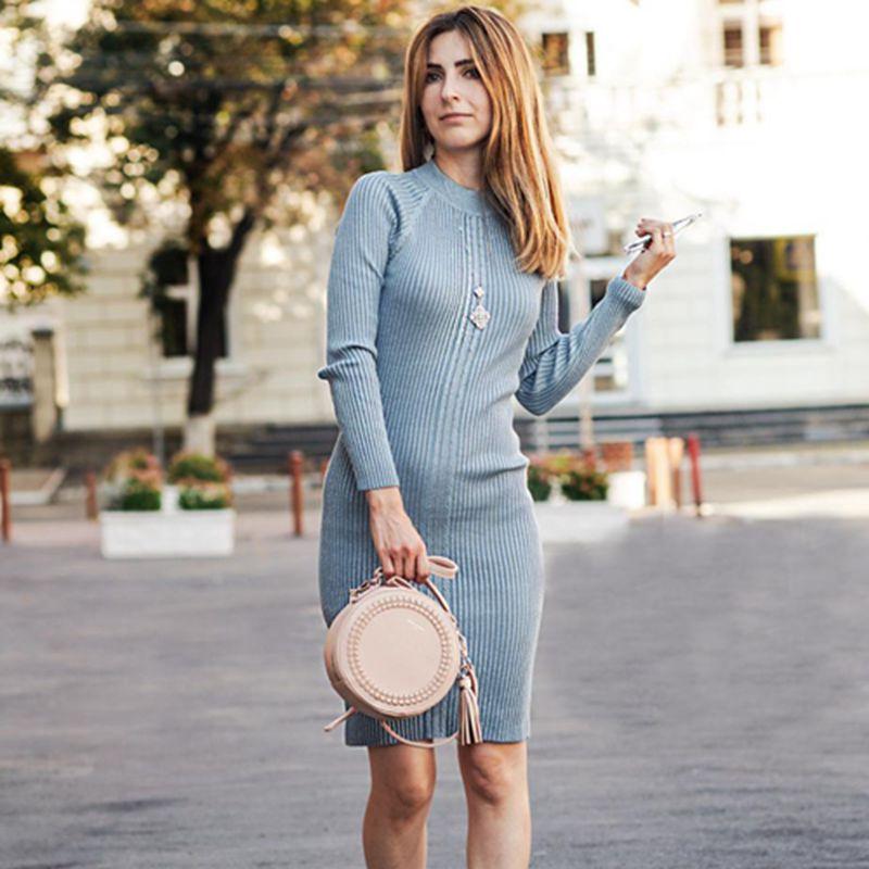 Knee-Length Knitted Autumn Women Dress