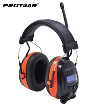 Protear DAB/DAB Radio Hearing Protector 25dB Baterai Lithium 1200 M Ah Earmuffs Elektronik Bluetooth Headphone Telinga Perlindungan