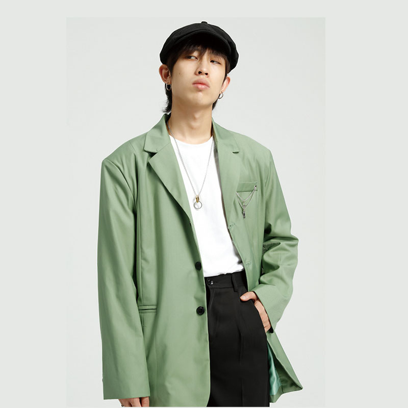 Men Chain Casual Loose Suit Blazer Coat Male Vintage Fashion Streetwear Hip Hop Loose Suit Jacket Outerwear