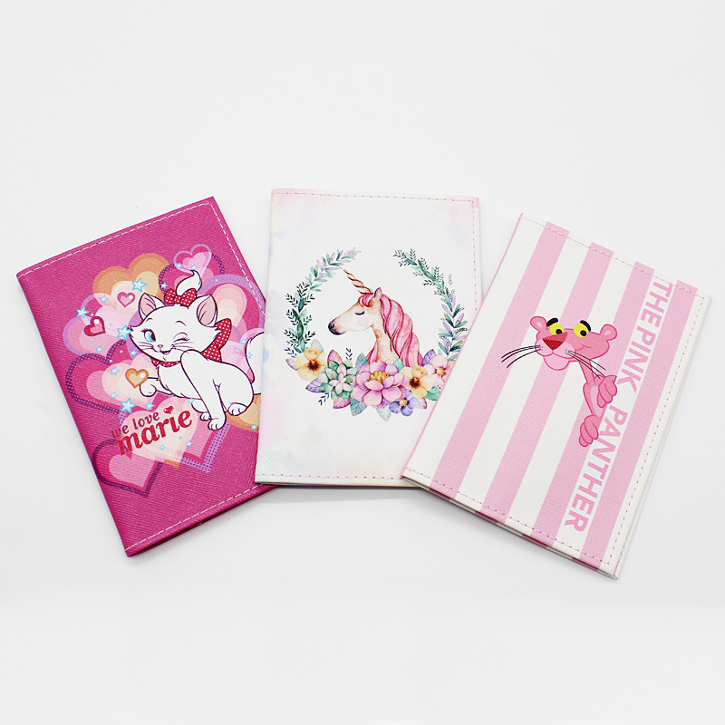 New Women Passport Cover Cartoon Pink Panther Soft Leather Passport Packet Cute Unicorn Bear Travel Id Card Passport Holder Case