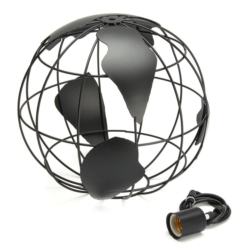 Black creative loft continental single retro globe chandelier Modern metallic lounge café casual ceiling lamp