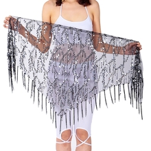 Scarf Wrap-Skirt Sequin Tassel Latin Belly-Dance Stage-Performance Triangle Waist-Chain