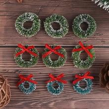 Guirnaldas de Navidad en miniatura para decoración del hogar, miniartesanía de casa de muñecas, regalo, bricolaje, casa de muñecas, 10 Uds., novedad