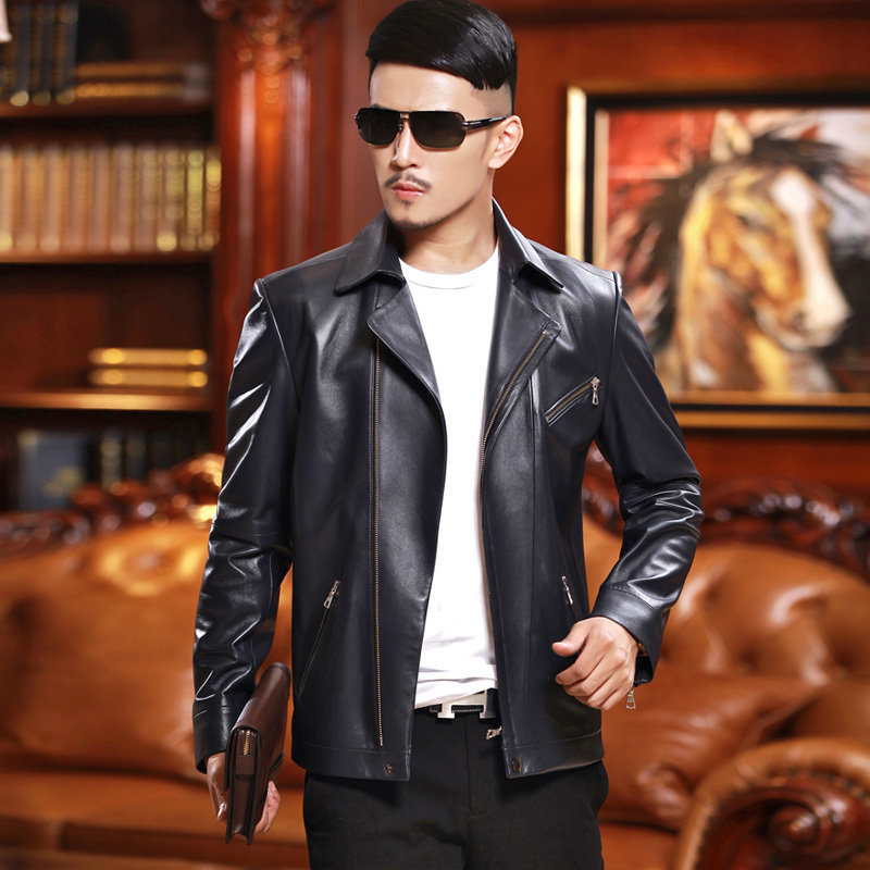 Men Sheepskin Coat Spring Autumn Genuine Leather Jacket Men Motorcycle Jackets Men Cuero Genuino L14C661 YY267