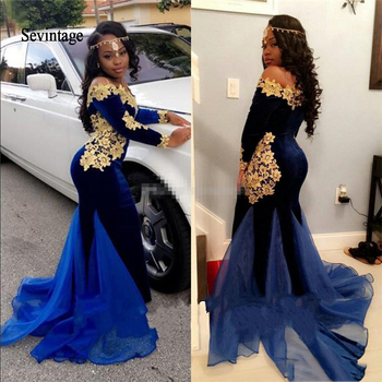 Sevintage South Africa Long Sleeves Prom Dresses Elegant Mermaid Royal Blue Velvet with Gold Lace for Women Evening Gowns