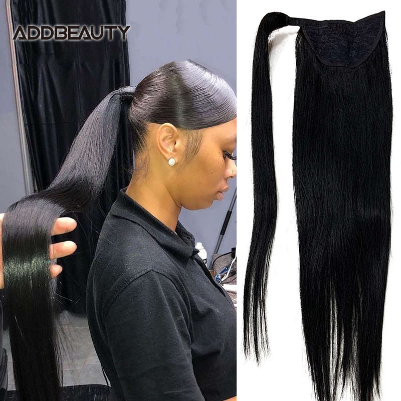 Em linha reta rabo de cavalo humano remy grampos de cabelo no cabelo humano brasileiro extensão envoltório em torno do cordão cabeça wear hairpiece natural 15%