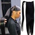 Прямой хвост, человеческие волосы Remy, зажимы для волос в бразильском стиле, наращивание волос, обертывание вокруг шнурка, головной убор, шин...