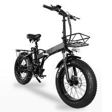 Gw20 750w 20 Polegada bicicleta dobrável elétrica, 4.0 pneu gordo, 48v bateria de lítio poderosa, bicicleta de neve, assistência elétrica bicicleta