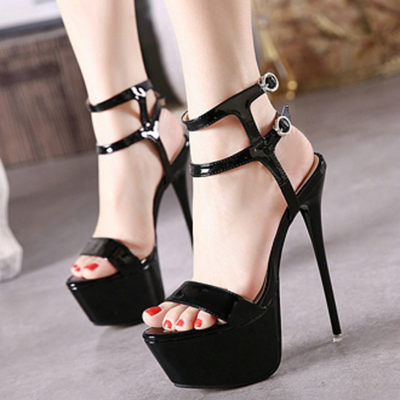 2019 New fashion shoes Women Sandals <font><b>Heel</b></font> Pumps <font><b>Sexy</b></font> platform Pointed Toe lady Super <font><b>high</b></font> <font><b>heels</b></font> <font><b>17cm</b></font> Shoes big size 46 PA-98 image
