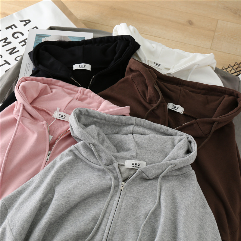 Hoodies Sweatshirts Jacket Korean-Style Zipper Cotton Women's Loose Autumn Casual New