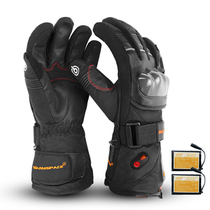 Motorcycle heating rider Waterproof heated Gloves 5600mAh Windproof Guantes Moto Touchscreen cotton Liner real leather gloves|Gloves|   -