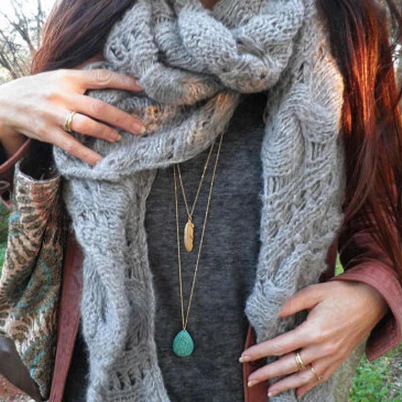 Nowe kamienne koraliki wisiorek z liśćmi naszyjnik panie obojczyk długi łańcuch wielowarstwowe naszyjniki dla kobiet moda naszyjnik XL364